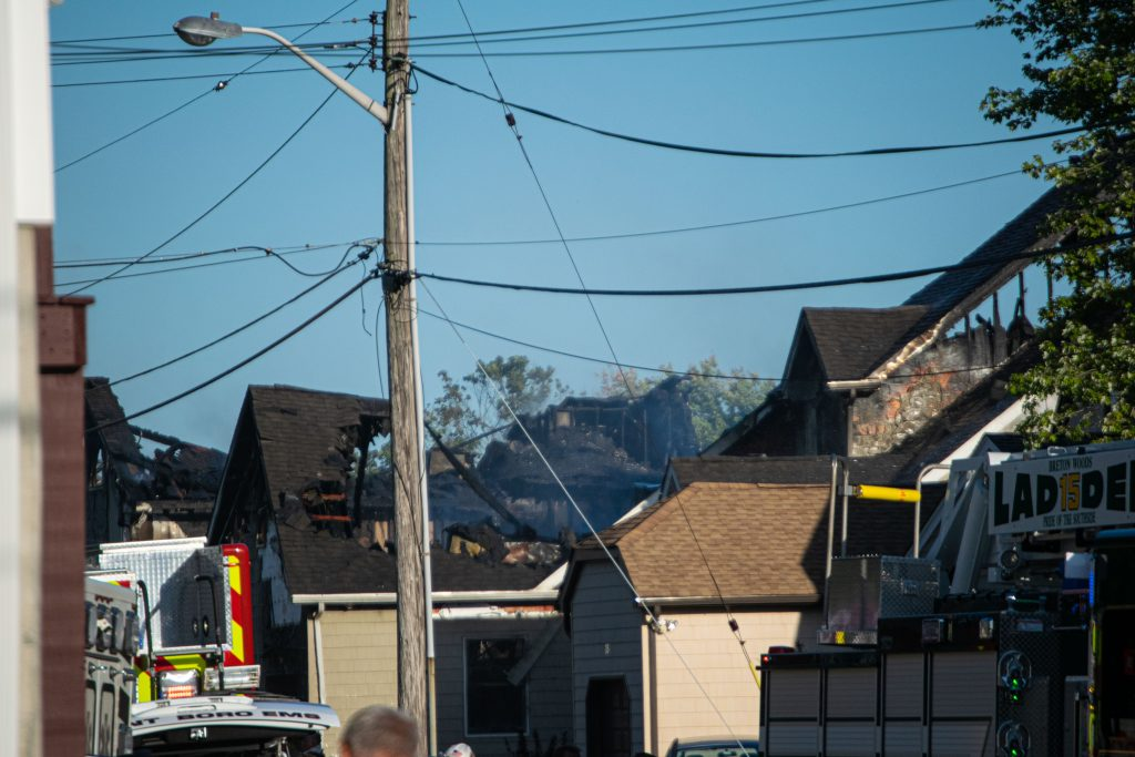 A fire heavily damaged two homes on Bay Way in Brick Township, N.J., Sept. 27, 2021. (Photo: Daniel Nee)