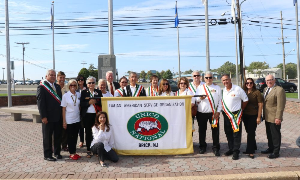 Members of Brick UNICO raise the Italian flag in an annual ceremony, Oct. 8, 2021. (Photo: Brick Township)