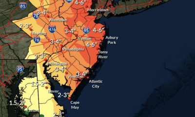 Rainfall totals for the Oct. 26-27, 2021 nor'easter. (Credit: NWS)