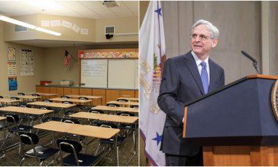 A classroom (Credit: xMizLitx/ Flickr) and U.S. Attorney General Merrick Garland (Credit: USDOJ).